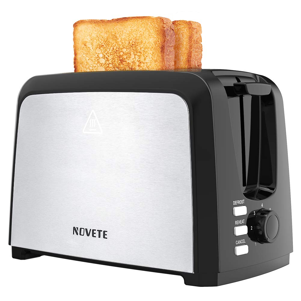 NOVETE Toaster 2 Slice, 2 Slice Toaster Wide Slot, Stainless Steel Toaster with 7 Shade Settings, Removable Crumb Tray, Defrost Reheat Cancel Functions, UL Certified Home Compact Toaster