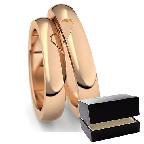 Oro Rosa eheringe/confíes anillos 750 + con Estuche + ...