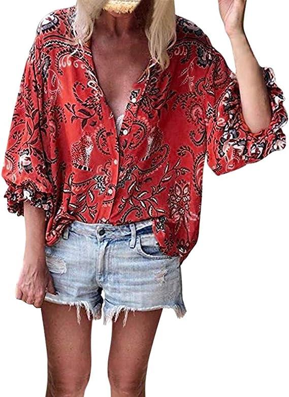MISSWongg Mujer Casual Blusas Poliéster Estilo Hawaiano Lapel Camisas Estampada Volantes Manga Camiseta Vacation Tourism Suelto Casual Tops Verano Fiesta Playa Blusas Ligeros Transpirables Camiseta: Amazon.es: Ropa y accesorios
