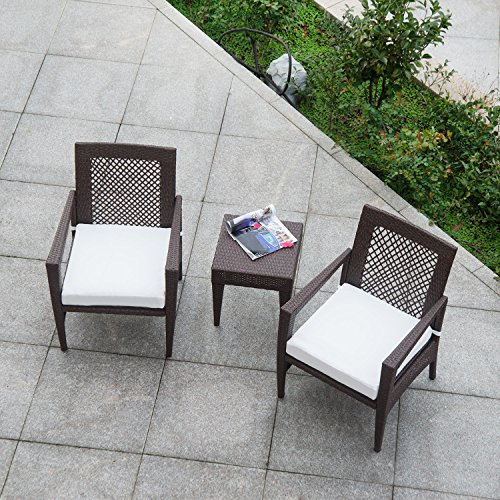 AURO Brisbane Outdoor Furniture   3 Piece Rattan Patio Set   All-Weather Brown Wicker Bistro Set with 2 Water resistant Olefin Cushioned Chairs & End Table   Porch, Backyard, Pool, Garden (Off White)