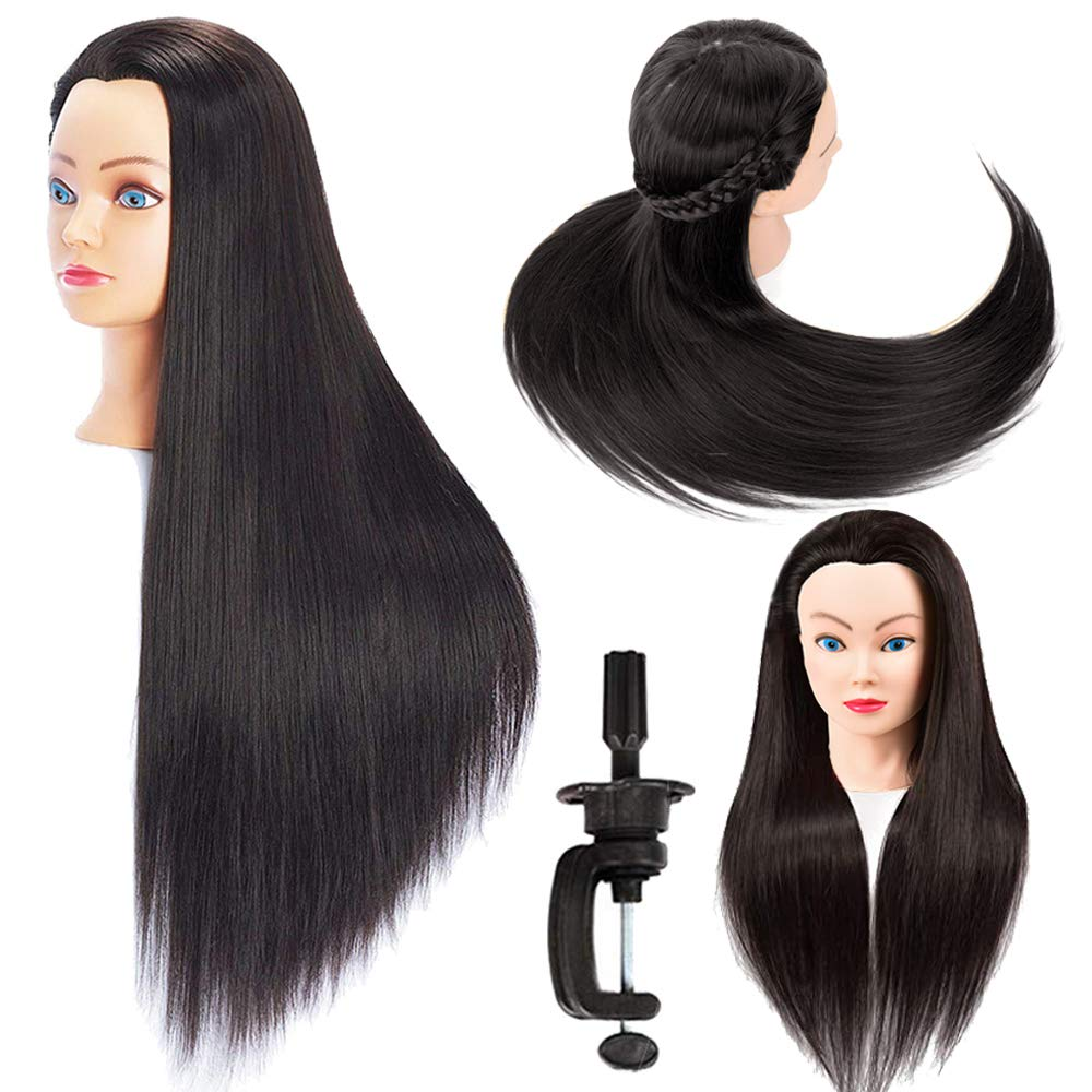 Hair Stying Training Mannequin Head Brown Color with Stand Hairdressers Practice Cosmetology Dolls Head Training Model Salon Hair Head Fiber Hair-dressing and Makeup Practice Head Female