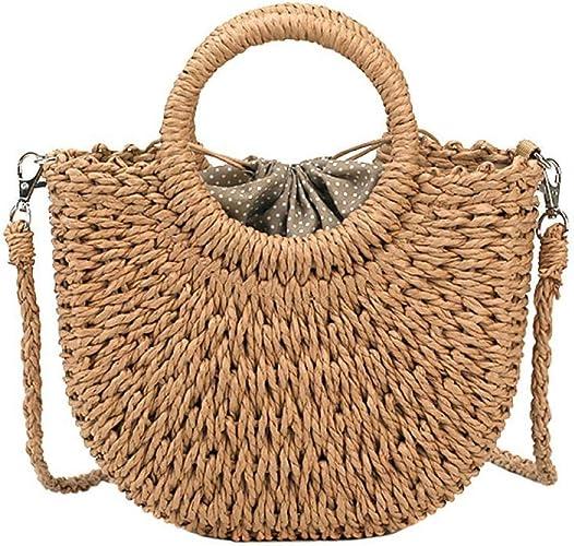Fashion Women Woven Straw Handbag Handmade Large Tote Bags Beach Shoulder Bag