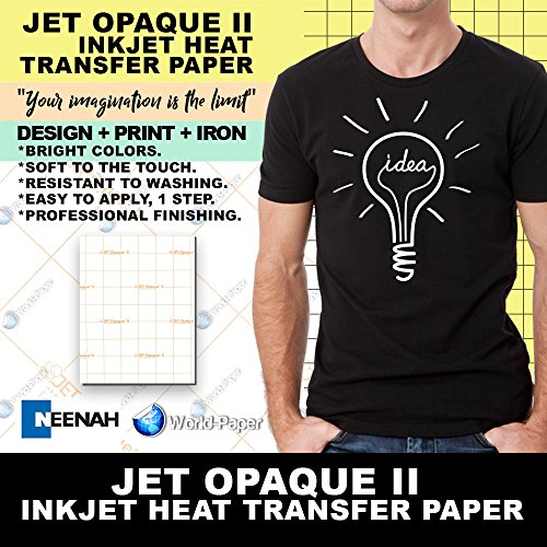 Jet-Opaque II Iron on Heat Transfer Paper/Dark Color 100 She