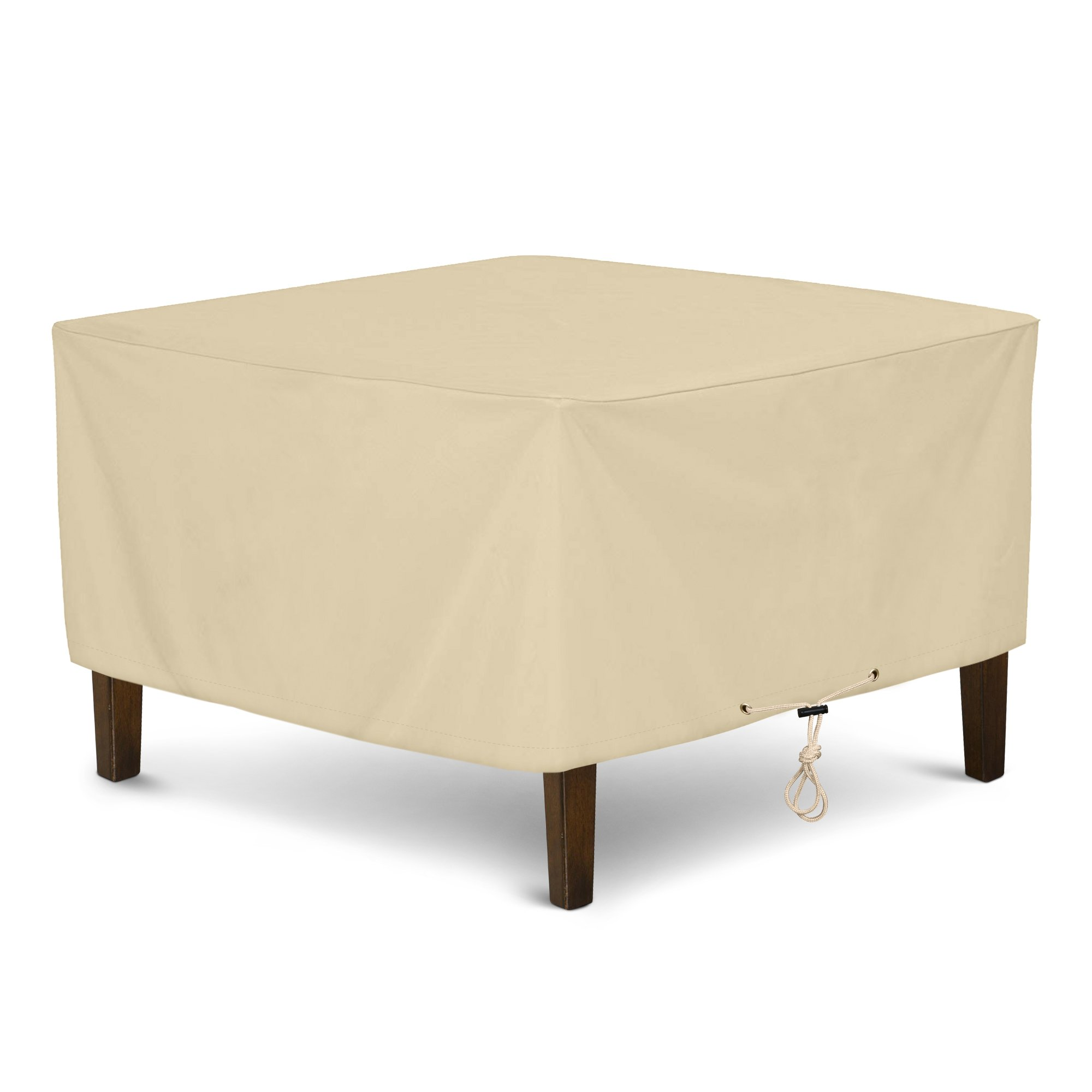 SunPatio Outdoor Ottoman Cover, Square Coffee Table Cover, Heavy Duty Waterproof Patio Furniture Side Table Cove, All Weather Protection, 32'' L x 32'' W x 18'' H, Beige