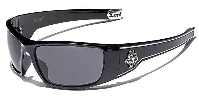 fa246bbcbc17 Amazon.com  Large OG Locs Dark Lens Sunglasses - Black   White  Clothing