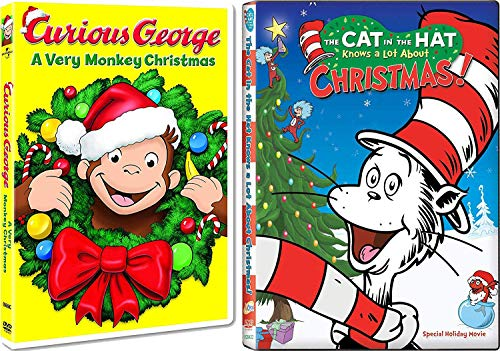 Monkey Cat Holiday Adventures Curious George A Very Monkey Christmas + Dr. Seuss The Cat in the Hat Knows a Lot About Christmas! Cartoon DVD 2 Pack -