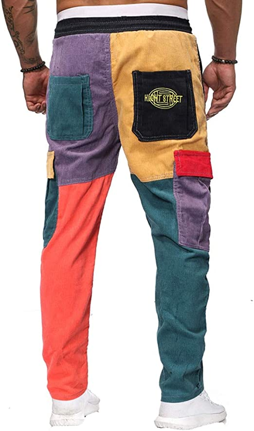 Men Corduroy Pants F/_Gotal Men/'s Casual Hipper Colorblock Drawstring Elastic Waist Cargo Sports Jogger Trouser Pockets