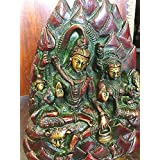Idol Hindu Statue Shiv and Parvati Holding Ganesh on Lap Brass Sculpture 7.5""