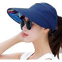 HindaWi Sombreros de Sol para Mujer de ala Ancha con protección UV para Verano y Playa, Visera Plegable, Marino, Talla única
