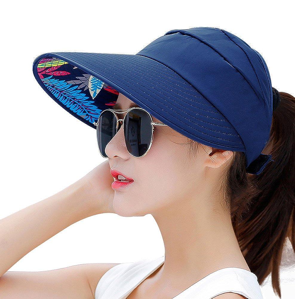 HINDAWI Sun Hats Women Wide Brim UV Protection Summer Beach Packable Visor NT2380-BG
