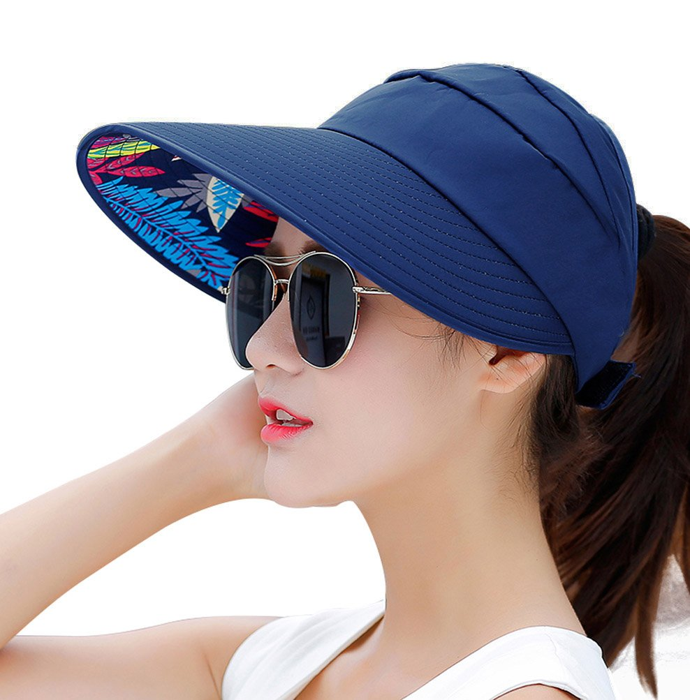 HindaWi Sun Hats For Women Wide Brim UV Protection Summer Beach Visor Cap 5c75a894893