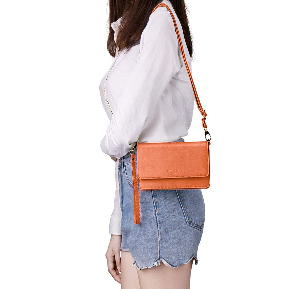 nuoku Women Small Crossbody Bag Cellphone Purse Wallet with RFID Card Slots 2 Strap Wristlet(Max 6.5'') … (Orange) by nuoku (Image #8)
