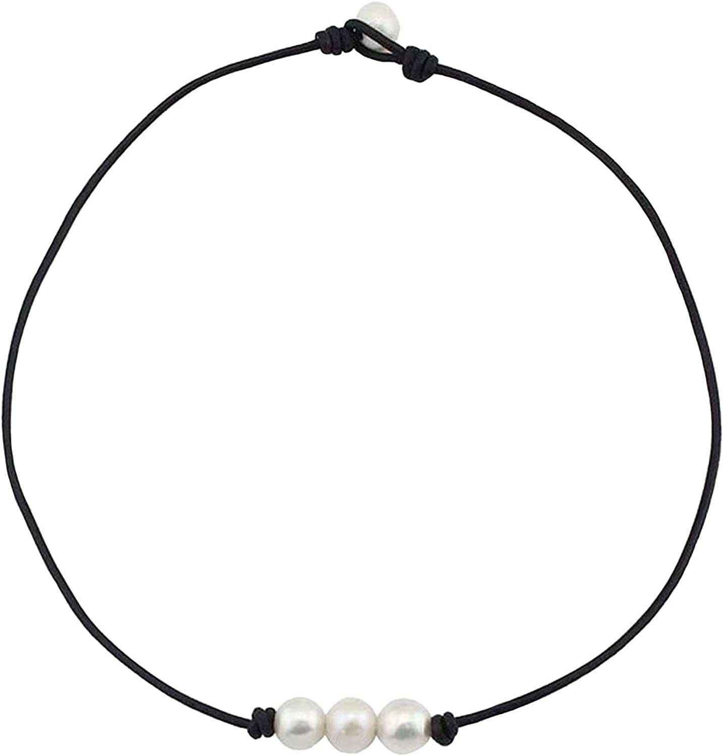 hammered beads necklace womens minimal horn pendant leather ethnic beaded choker Double strands short leather cord necklace gift idea