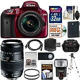 Nikon D3400 Digital SLR Camera & 18-55mm VR DX AF-P Zoom Lens (Red) with 70-300mm Lens + 32GB Card + Case + Flash + Battery + Tripod + Kit