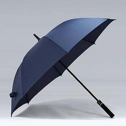 Paraguas Commerce Umbrella Men Handle Windproof Double Clear Rain Straight Umbrella (Color : Azul)