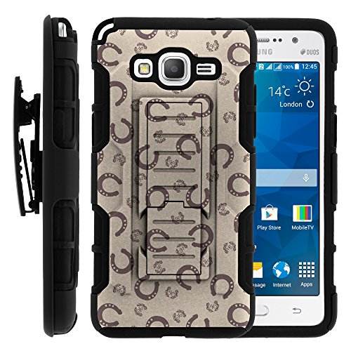 Galaxy Grand Prime Case, Galaxy Grand Prime Holster, High Impact Advanced Double Layered Hard Cover with Built in Kickstand and Belt Clip for Samsung Galaxy Grand Prime SM-G530H, SM-G530F (Cricket) from MINITURTLE   Includes Screen Protector - Horse Shoe Pattern