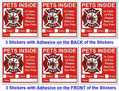 (6 Pets Inside Red Safety Alert Warning Window and Door Stickers; 3 Have Adhesive on Back of Stickers + 3 Have Adhesive on Front of Stickers; 3 X 3 Inches)