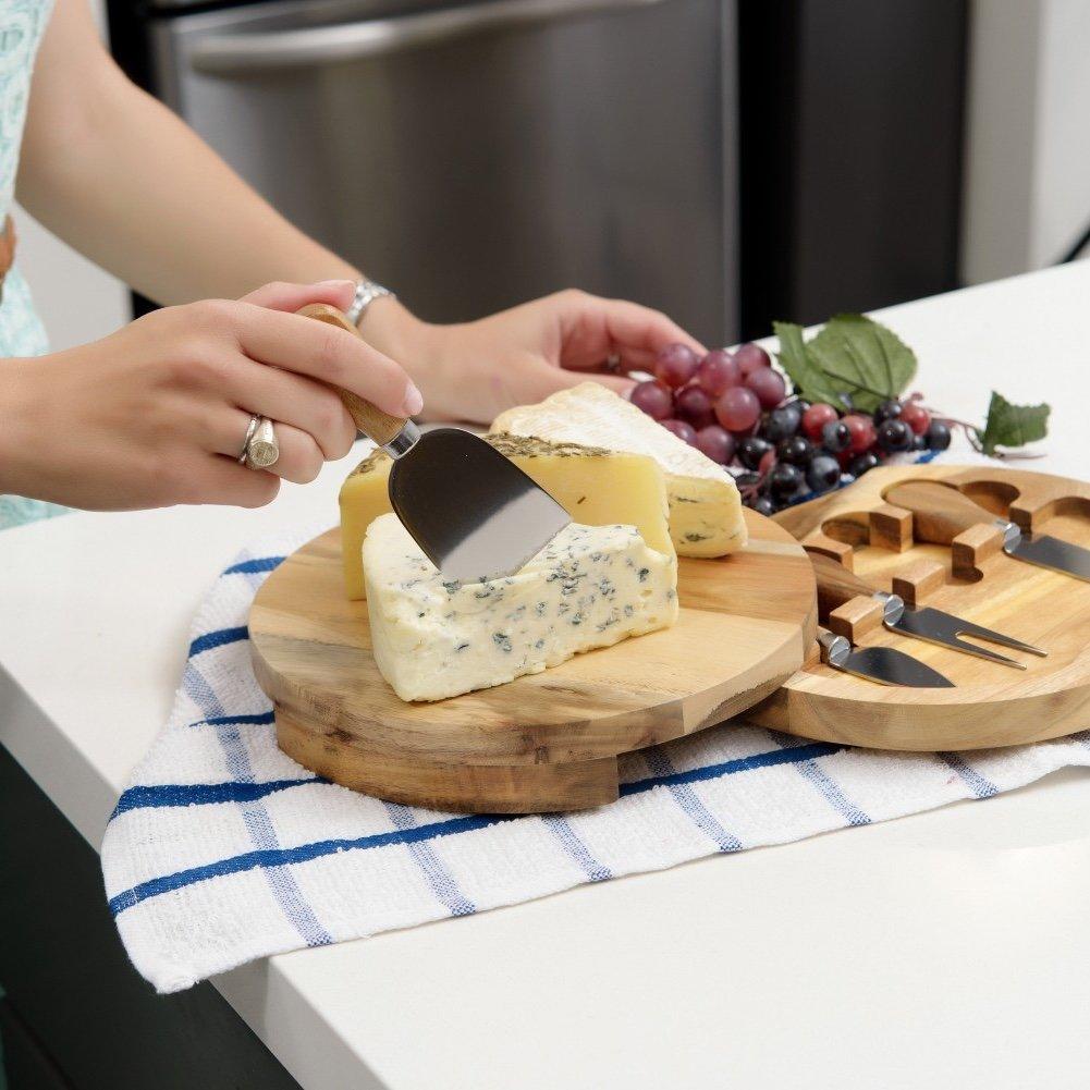 Cheese Board & Knife Tool Set, Acacia Wood [8.5'' x 8.5'']
