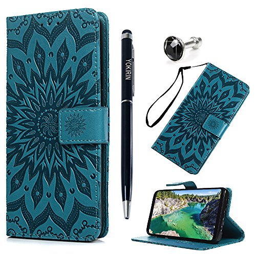 Price comparison product image For Samsung Galaxy S9 Case, PU Leather Wallet Case Sunflower Pattern Flip Folio Magnetic Book Skin Shell with Credit Card Slots and Kickstand Wrist Strap Soft TPU Bumper Full Proteciton, Blue