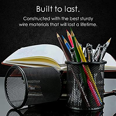 Pen Holder Mesh Pencil Holder Metal Pencil Holders Pen Organizer Black for Desk Office Pencil Holders, 4 Pack