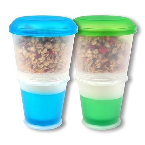 Schramm® 2er Pack Joghurtbecher to go Müsli-to-Go Müslibecher mit integriertem Kühlfach und Löffel Müslischale Joghurt Becher