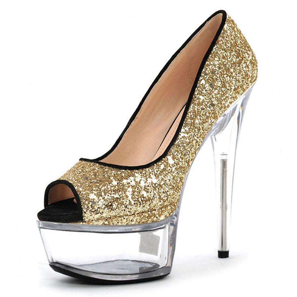 L@YC Zapatos De TacóN alto De Las Mujeres De Cristal 15 Cm Fight Color Paquete De Discotecas Delgadas Plataforma Impermeable 35 EU|Yellow