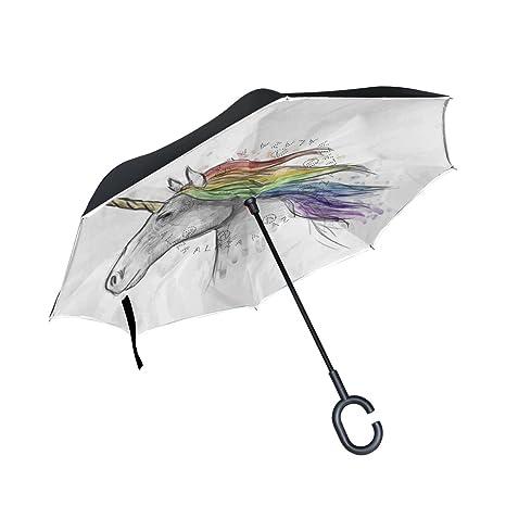 COOSUN Pintado Capa del unicornio Cabeza doble del paraguas invertido inversa para el coche y el