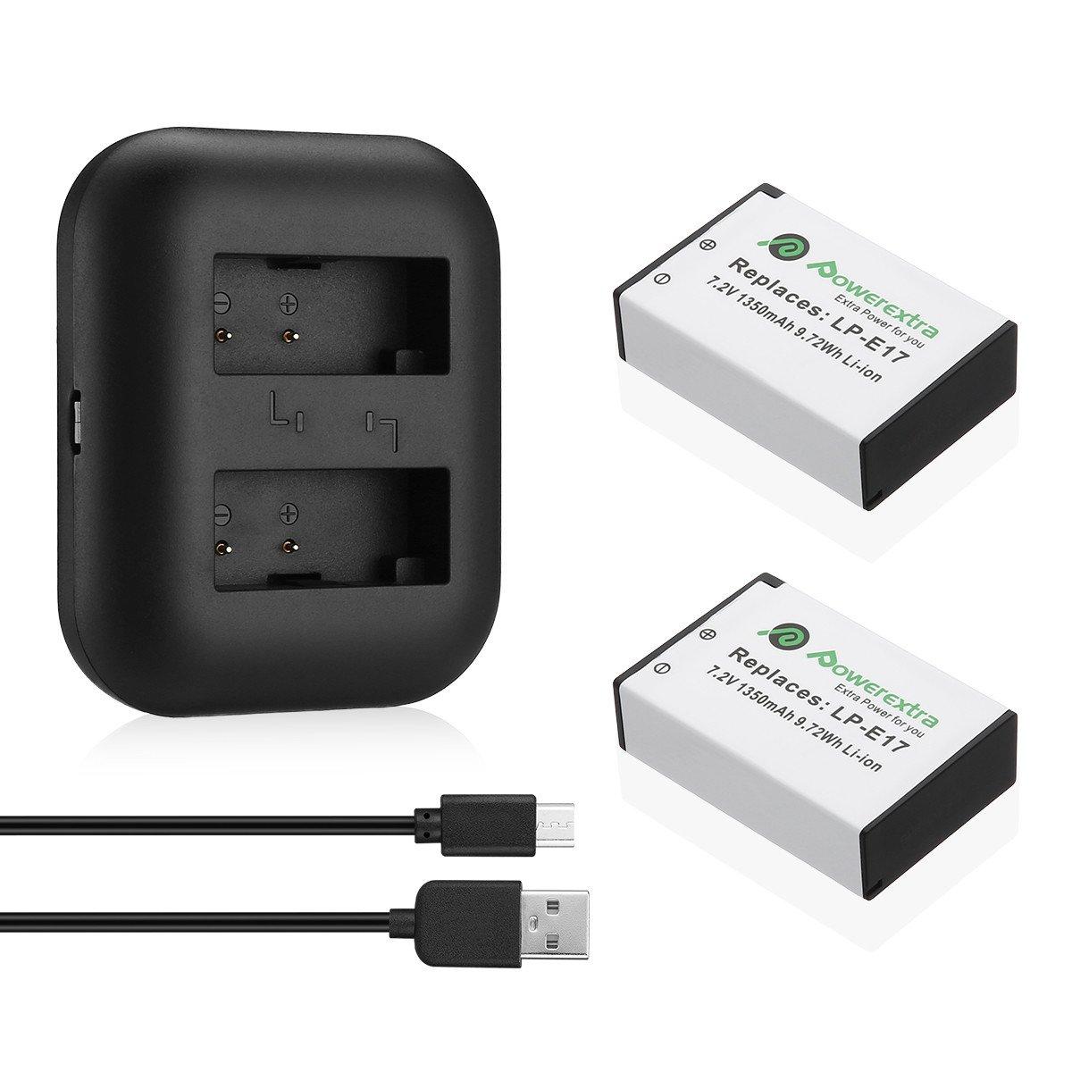 Powerextra Dual USB Cargador para Canon LP-E17 y Canon EOS M3 750D 760D Rebel T6i T6s 8000D Kiss X8i