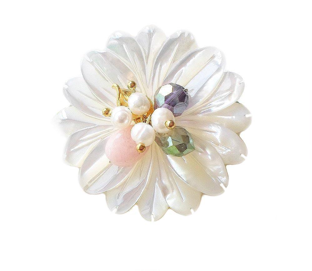 HANABE Women Handmade Daisy Chrysanthemum Flower Mother of Pearl Small Point Beaded Brooch Pin White