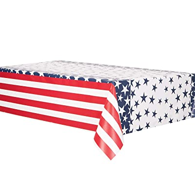 "Star Stripes Party Plastic Table Cover 54"" x 84"", 1 Ct.: Toys & Games"