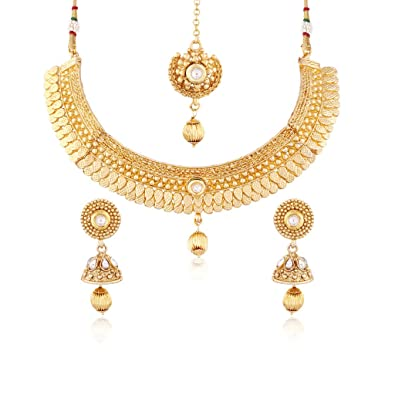 4517e2a3d4 Buy I Jewels 24K Gold Plated Traditional Jewellery Set with Maang Tikka for  Women MS116 Online at Low Prices in India | Amazon Jewellery Store - Amazon .in