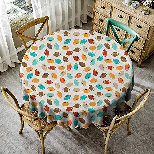 DONEECKL Restaurant Tablecloth Football Colorful School Icons Rugby Balls University Championship Play Abstract Pattern Indoor Outdoor Camping Picnic D47 Multicolor