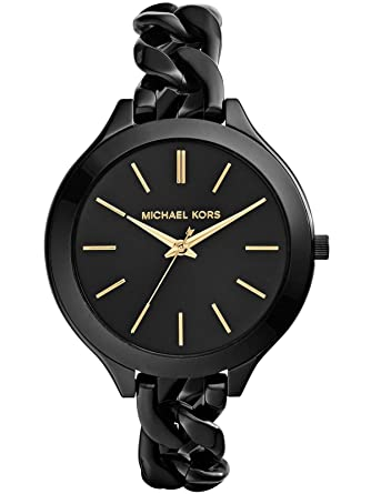 5fbaef454f3 Image Unavailable. Image not available for. Color: Michael Kors Women's  MK3317 - Slim Runway Twist Black