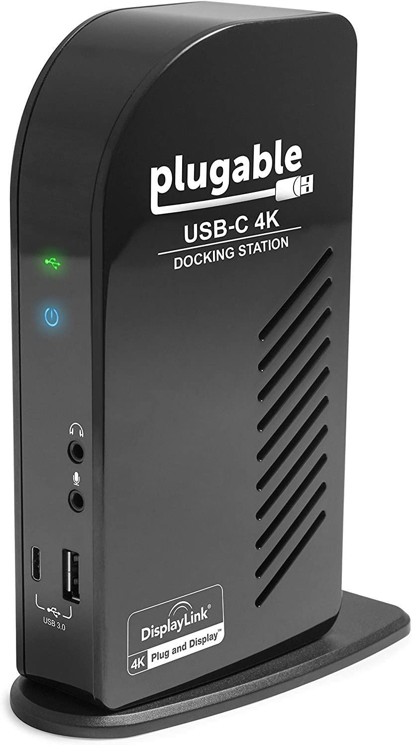Plugable USB-C 4K Triple Display Docking Station with Charging Support for Specific Windows USB C and Thunderbolt 3 Systems (1x HDMI and 2X DisplayPort++ Outputs, 5X USB Ports, 60W USB PD)