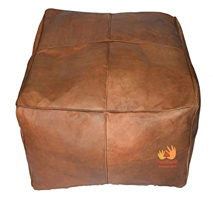 Excellent Amazon Com Leather Pouf Ottoman Moroccan Square Pouf Ncnpc Chair Design For Home Ncnpcorg