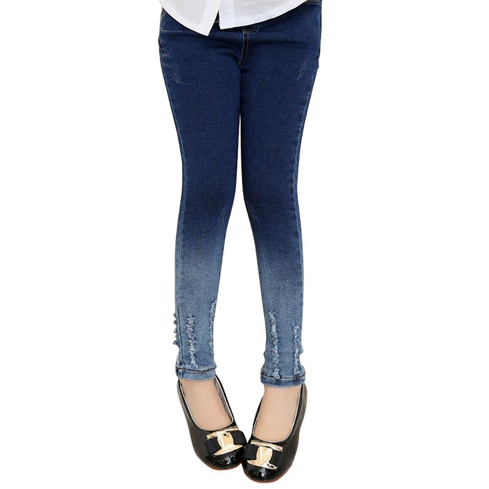 Abalaco Girls Kids Jeans Cotton Shading Denim Legging Stretch Waist Skinny Pants (7-8 Years)