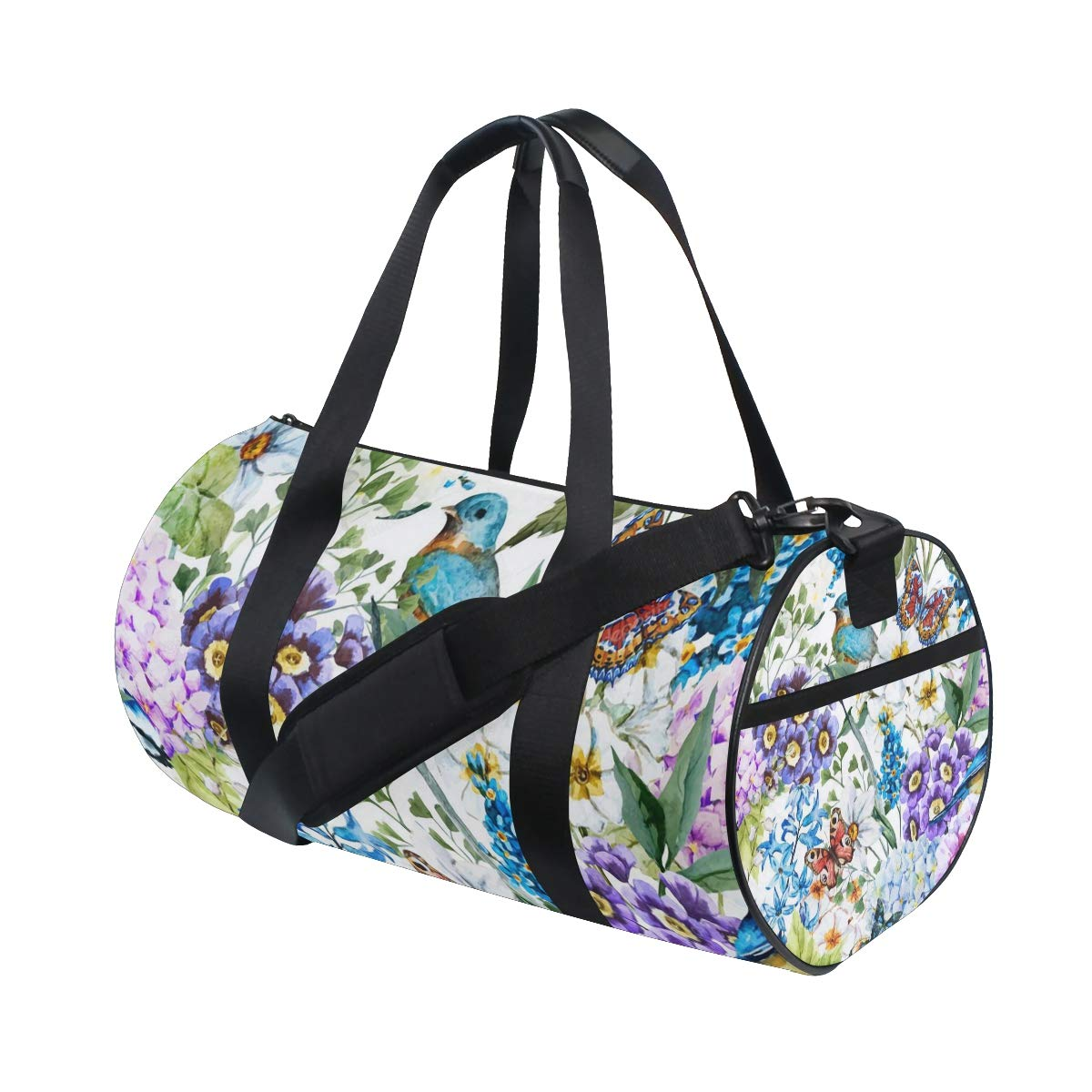 OuLian Women Gym Bag Watercolor Floral Summer Mens Camp Duffel Bags Duffle Luggage Travel Bag