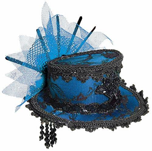 Forum Novelties Women's Mini Lace Hat Hair Clips-Blue Party Supplies, Standard 68857