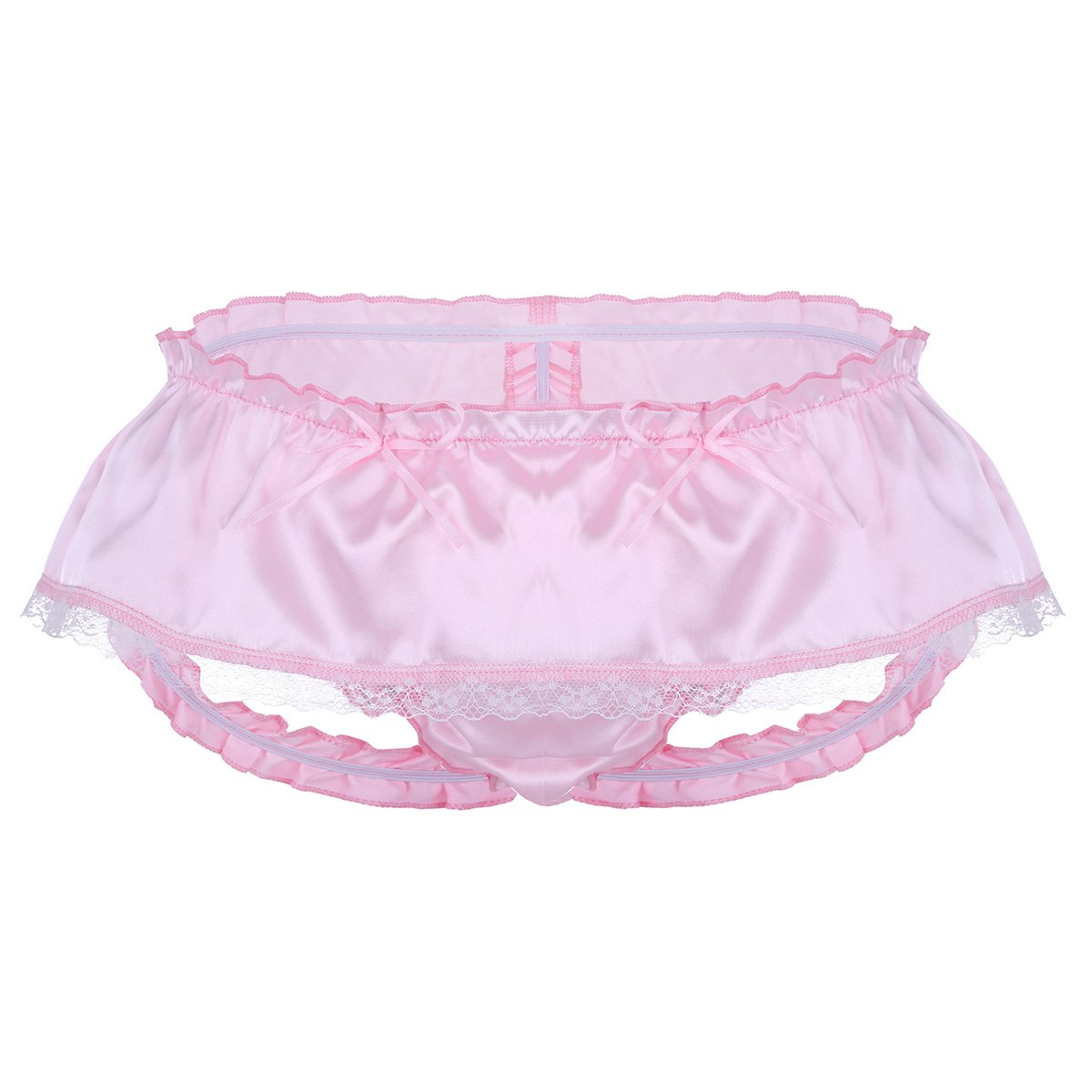 d9ab14afccb inlzdz Men's Sexy Ruffled Shiny Satin Lace Briefs Skirted Panties Sissy  Maid Lingerie Underwear