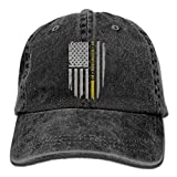 MNBHat 911 Dispatcher Thin Gold Line Snapback Cotton Hat Black