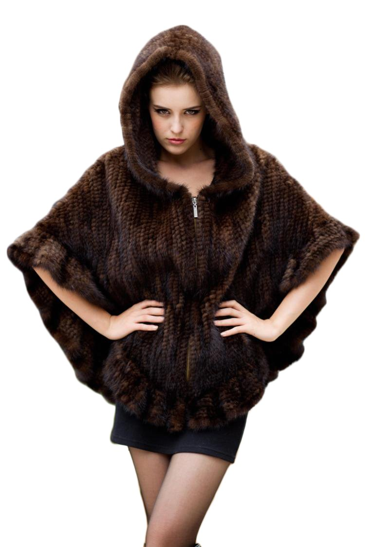Queenshiny Women's Knitted Mink Fur Cape With Mink Trim With Hood-Brown-One size