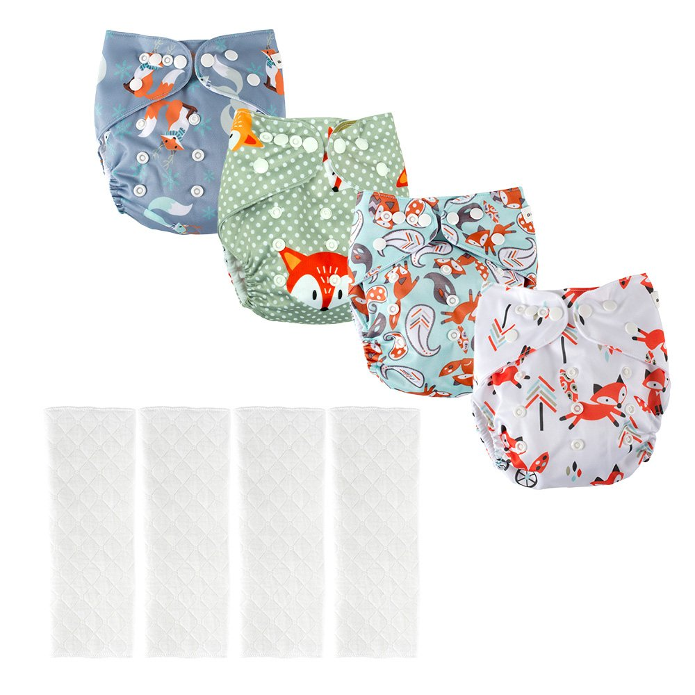 BIG ELEPHANT Baby 8 Pack Solid Color Reusable Cloth Pocket Diapers with 8 Microfiber Inserts PD-04Ca