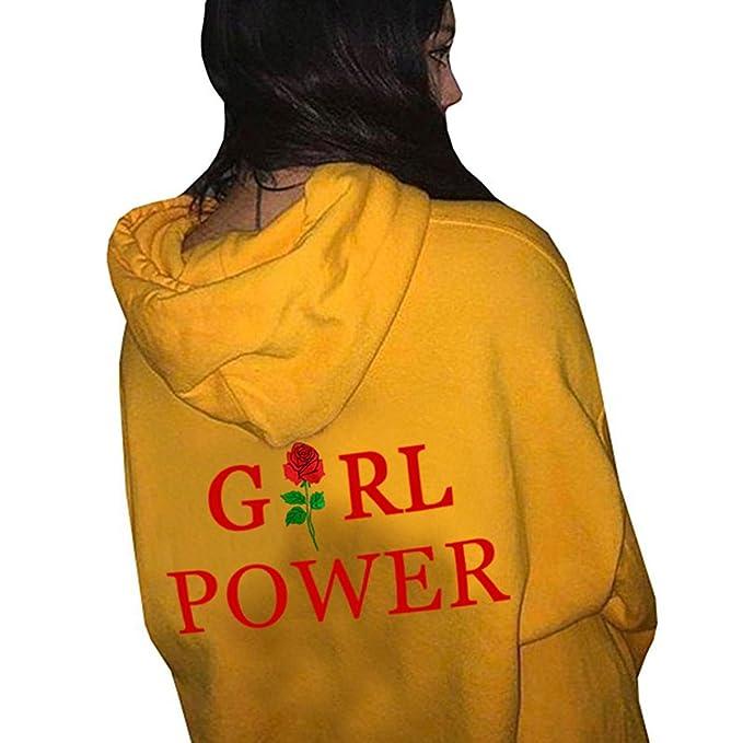 Sudadera con Capucha Mujeres Causales Sudaderas Capucha De Manga Larga para Mujer (Color : Yellow