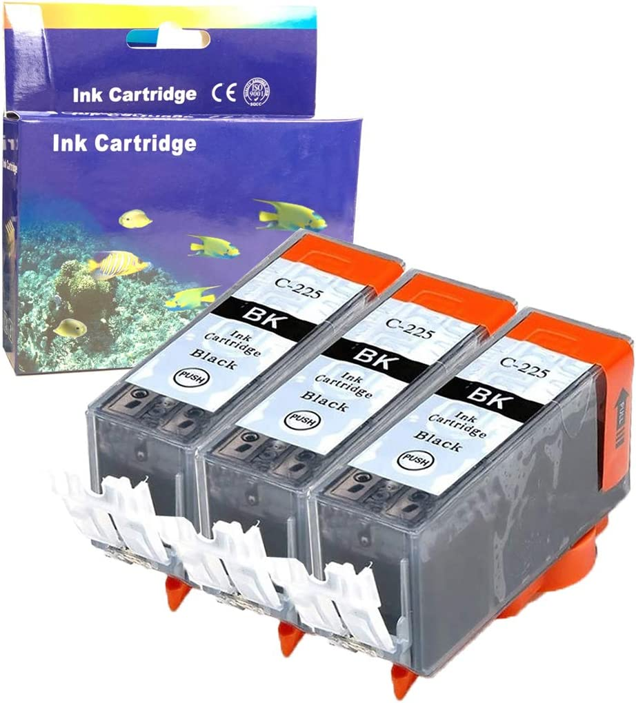 ZET Remanufactured Ink Cartridge Replacement for Canon PGI225 PGI-225 for PIXMA MG5120 MG5220 MG5320 MG6120 MG6220 MG8120 MG8120B MG8220 MX712 MX882 MX892 Printers Black, 3 Pack
