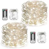 YIHONG 2 Set Christmas Fairy Lights Battery Operated,16ft 50LED String Lights Remote Control Timer Twinkle String Lights 8 Modes Silver Wire Firefly Lights for Garden Party Indoor Decor-White