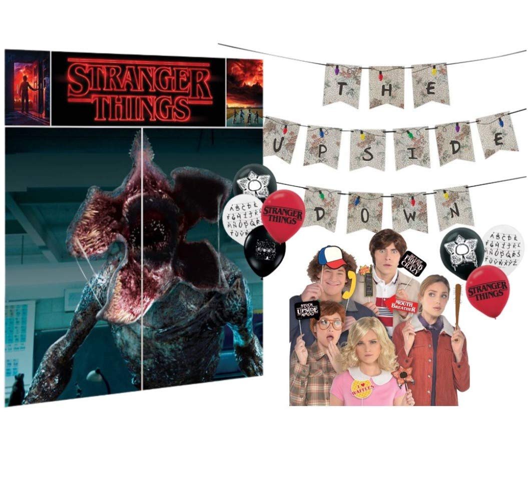 Stranger Things Party Supply Decorating Pack with Backdrop, Photo Props, Banner, and Balloons by Amscan
