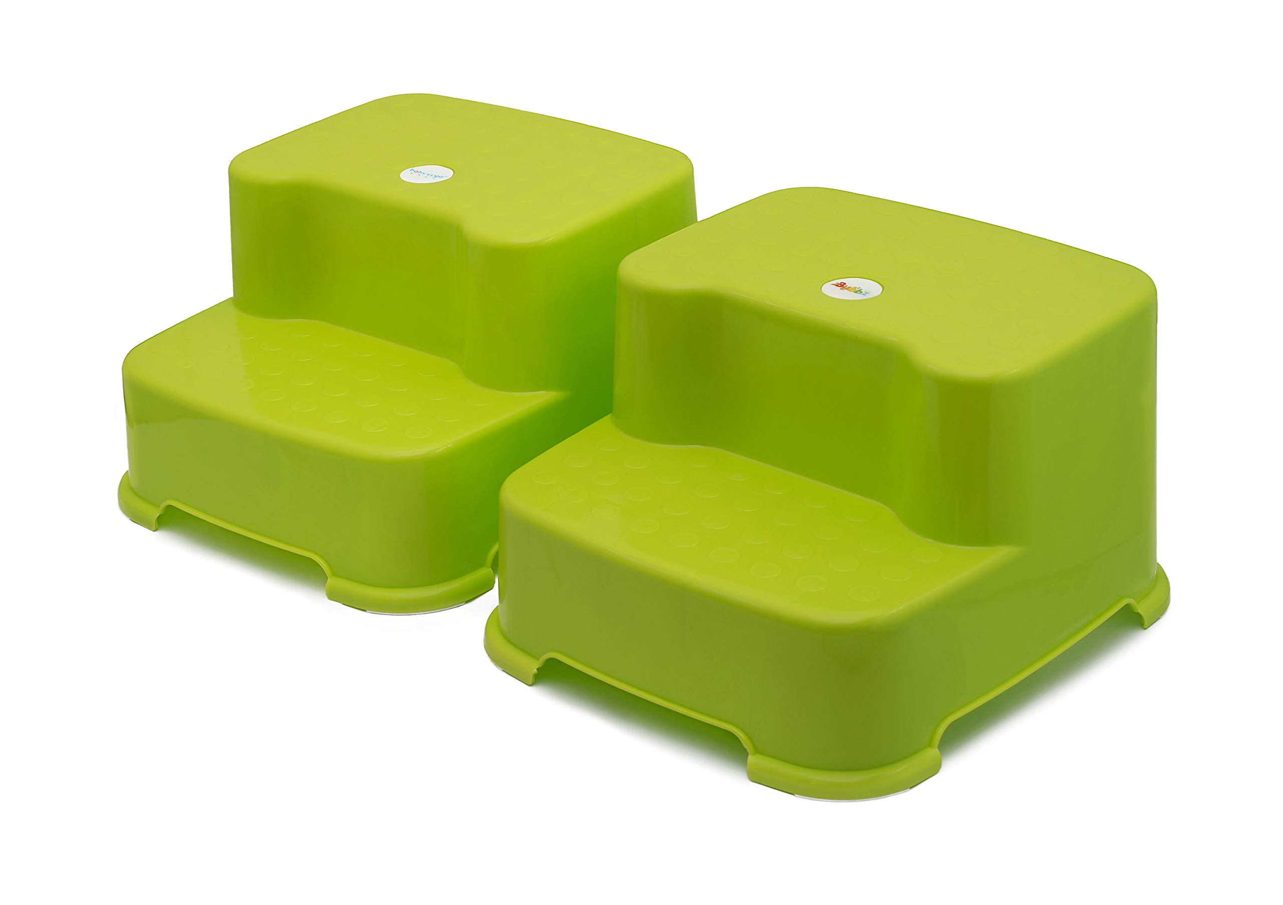 Bubbz Two Step Stool. Twin Green Pack. Bathroom and Kitchen Dual Height Stepping Stool for Toddlers and Children. Toilet Potty Training for Kids. Portable, Double Step, Slip Resistant. by Bubbz