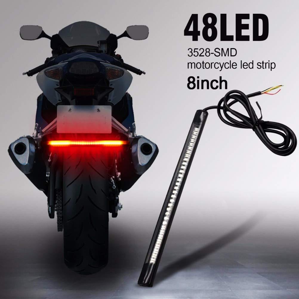 Universal 48 LED SMD Lichtleiste Motorrad Hinterradbremse Stopp Blinker Lichtleiste//LED Motorrad R/ücklicht Blinker Licht Bremsleuchte Licht LED Universal Motorrad R/ücklicht