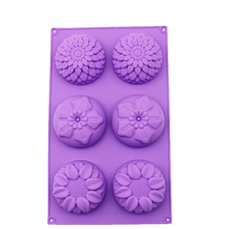 6-Flower Sunflower Chrysanthemum Cake Mold DIY Cookie Mould Flexible Silicone