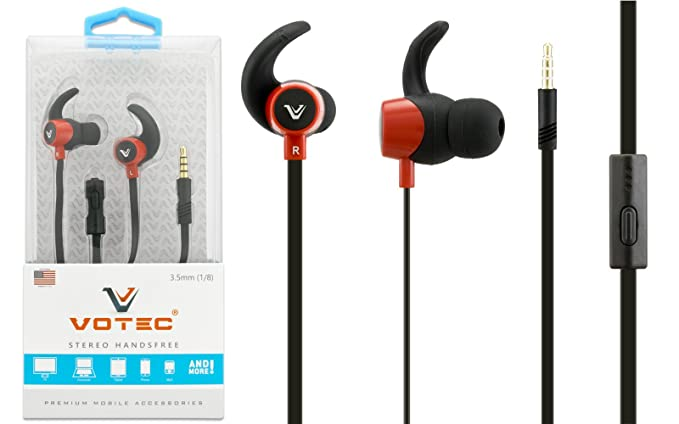 9b2cd90abd0 Votec Compatible 3.5mm Stereo Hands-free Tangle-less Earbuds Ear-hook  Headset